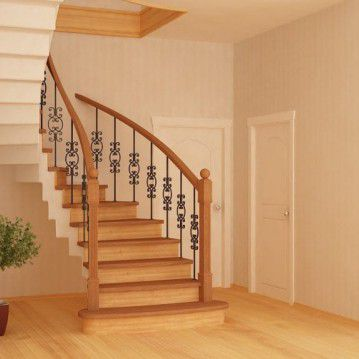 Mediniai laiptai ant betoninės konstrukcijos BE 01