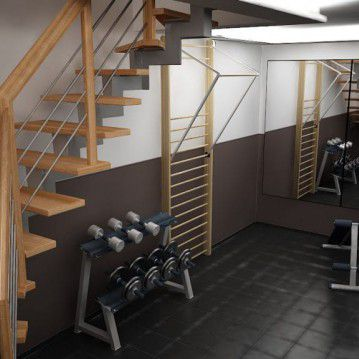 Laiptai ant metalinės konstrukcijos ir erdviškai suktu porankiu MT 08