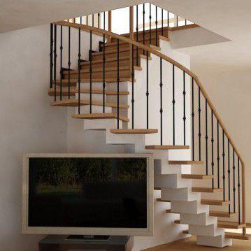 Laiptai ant metalinės konstrukcijos ir erdviškai suktu porankiu MT 11