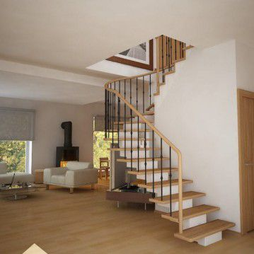 Laiptai ant metalinės konstrukcijos ir erdviškai suktu porankiu MT 19