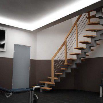 Laiptai ant metalinės konstrukcijos su dekoruotu turėklu MT 08