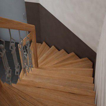 Laiptai ant metalinės konstrukcijos su dekoruotu turėklu MT 13