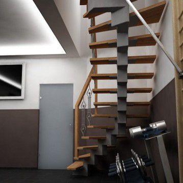 Laiptai ant metalinės konstrukcijos su dekoruotu turėklu MT 39