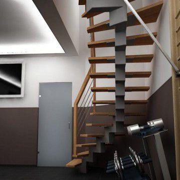 Laiptai ant metalinės konstrukcijos su dekoruotu turėklu MT 47