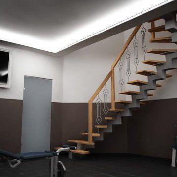 Laiptai ant metalinės konstrukcios su dekoruotu turėklu MT 52