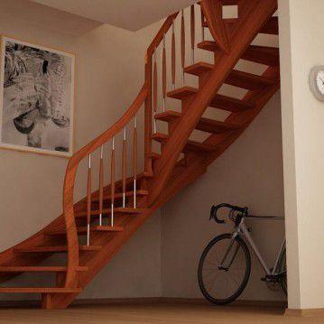 Mediniai laiptai su medinėm laikančiom sijom ME 01