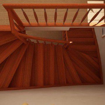 Mediniai laiptai su medinėm laikančiom sijom ME 02
