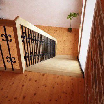 Tiesūs išlengvinti mediniai laiptai SA 01