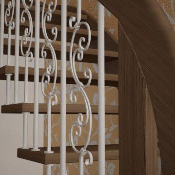 Sąvaržiniai laiptai su dekoruotais šviesiais turėklais SA 02