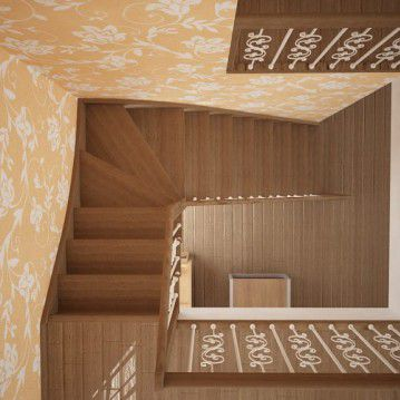 Sąvaržiniai laiptai su dekoruotais šviesiais turėklais SA 28