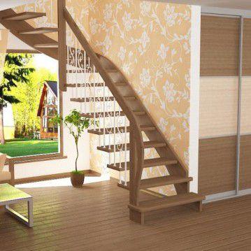 Sąvaržiniai laiptai su dekoruotais šviesiais turėklais SA 06