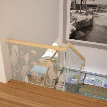 Stikliniai laiptai ant nerūdijančio plieno sijų ST 01