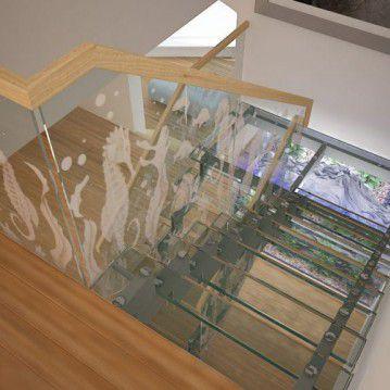 Stikliniai laiptai ant nerūdijančio plieno sijų ST 02