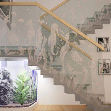 Stikliniai laiptai ant nerūdijančio plieno sijų ST 03