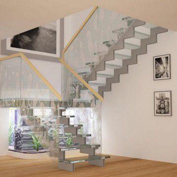 Stikliniai laiptai ant nerūdijančio plieno sijų ST 05