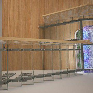 Stikliniai laiptai ant nerūdijančio plieno sijų ST 06